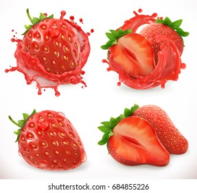 Strawberry juice. Fresh fruit, 3d realistic vector icon