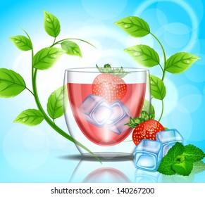 Strawberry juice with ice