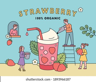 Strawberry juice poster. People are making huge strawberry juice.