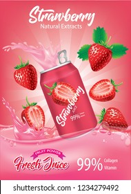 strawberry juice splash Ads. Season sweet of tropical fruits. 3d realistic vector, Food concept design. of free space for your copy and branding.