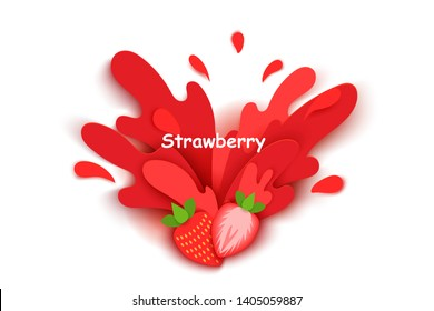 strawberry juice splashes and drops in a paper cut style. strawberry slices and paper slices. soft shadows and rich bright colors. stock vector illustration.