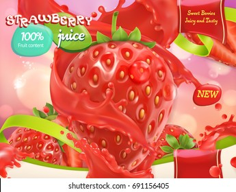 Strawberry juice. Sweet fruits and berries. 3d realistic vector, package design
