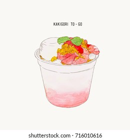 Strawberry Kakigori - Japanese shaved ice dessert flavored, This is drizzled with a milk ice base and topped with pudding, crumble  and sauce. serve in take away cup,?hand draw vector.
