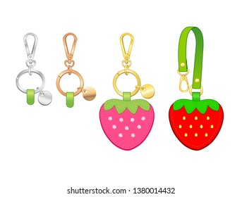strawberry key chains/ bag charms set, strawberry tags with strap, vector illustration sketch template