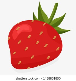 A strawberry with leaves in vector art
