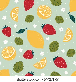 Strawberry and lemon bright seamless pattern isolated on green background. Vector illustration