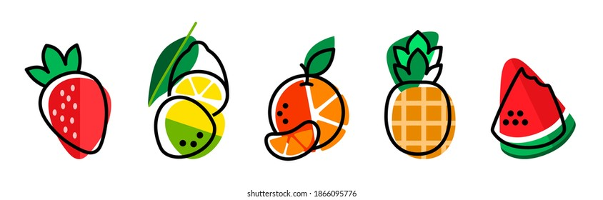 Strawberry lemon orange pineapple watermelon on a white background. Bright summer fruit illustration. Fruit Mix design for fabric and decor. Collection of berries. Set of colorful cartoon fruit icons