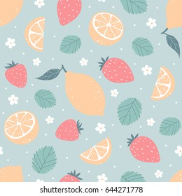 Strawberry and lemon seamless pattern in pastel colors. Vector illustration