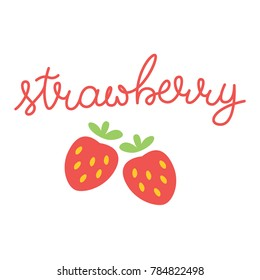Strawberry Lettering Vector Red Colorful