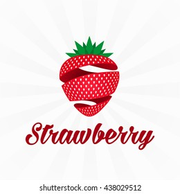 Strawberry logo icon with spiral element. Modern vector illustration of Strawberry. Fruit a sweet dessert concept. The emblem of berry fruit.
