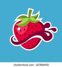 Strawberry logo icon with splash element