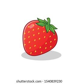 strawberry logo mascot vector art illustration