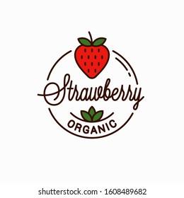 Strawberry logo. Round linear logo of organic strawberry on white background