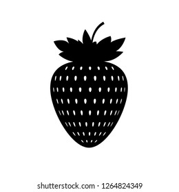 Strawberry logo. Silhouette of strawberry with leaves. Symbol, icon, pattern, example of strawberry.1
