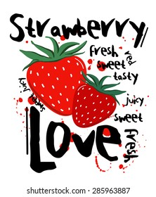 Strawberry Love graphic print for all uses in vector
