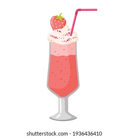 Strawberry milkshake with a straw in a glass cup. Vector, white background, isolated.