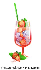 Strawberry Mojito cocktail with strawberry, ice and mint isolated on a white background. Modern vector illustration for fresh alcohol cocktail Mojito.