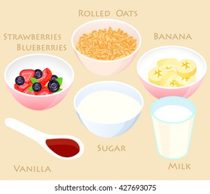 Strawberry Oatmeal smoothie recipe.Vector illustration of Rolled oats,strawberries,blueberries,slice of banana, sugar in bowl, cup of milk. Healthy breakfast