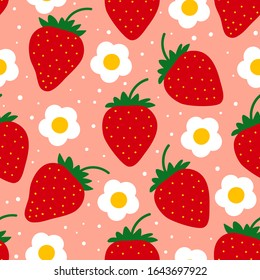 Strawberry pattern. Seamless repeated fruit design. Red berry background. Flat cartoon style. Vector illustration.