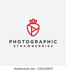 strawberry photo logo / strawberry vector