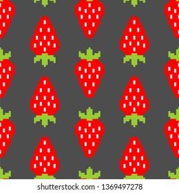 Strawberry pixel art pattern seamless. Berry background 8bit. summer texture. Vector Baby cloth Ornament
