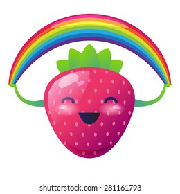 Strawberry with a rainbow on her hands. Vector illustration.