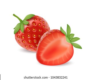Strawberry realistic. 3d vector image