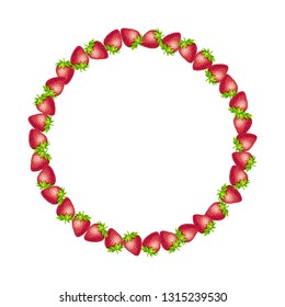 Strawberry round border frame. Vector text frame circle illustration made of strawberry with leaves isolated on a white.