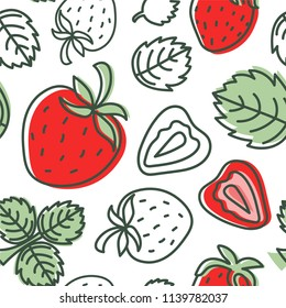 Strawberry seamless pattern. Hand drawn fresh berry. Vector sketch background. Doodle wallpaper. Red and green print