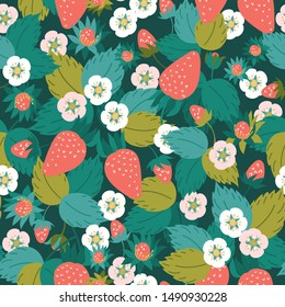 Strawberry seamless pattern. Red berries, green leaves, white flowers. Vector illustration.
