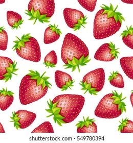 Strawberry seamless pattern. Vector illustration on a white background.