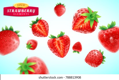 Strawberry set, detailed realistic ripe fresh strawberries with half and quarter of berry and green leaves with water droplets isolated on a blue background. 3d vector illustration.