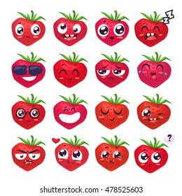 Strawberry set of funny smiles. Fruit and food collection. Vector cartoon illustration. Cute stylish characters.