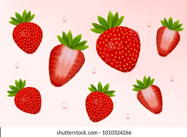 Strawberry set. Realistic fresh strawberry with leaves, fruit cut in half. Isolated on light pink background. 3d vector illustration.