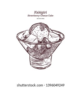 Strawberry Shave ice or kakigori with chesse cake and ice-cream, hand draw sketch vector.