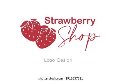 Strawberry Shop Logo Design.Vector Eps.10