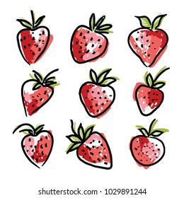 Strawberry in sketch hand drawn style, vector illustration isolated on white background