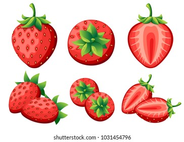 Strawberry and slices of strawberrys. Vector illustration of strawberrys. Vector illustration for decorative poster, emblem natural product, farmers market. Website page and mobile app design.