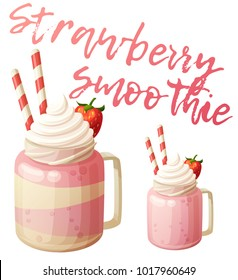 Strawberry smoothie dessert icon isolated on white background. Cartoon vector illustration. Traditional sweet drink in a glass jar with straws
