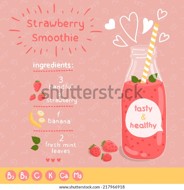 Strawberry smoothie recipe. With illustration of ingredients and vitamin. Doodle style