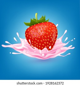 Strawberry sweet pink milk with berries and splashes realistic, Fruit and yogurt. vector 3d illustration.