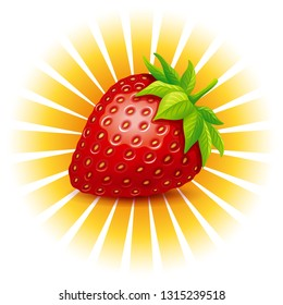 Strawberry vector logo. Vector illustration of strawberry with leaves and sun rays.