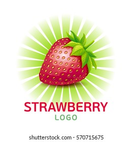 Strawberry vector logo. Vector illustration of strawberry with leaves isolated on a white.