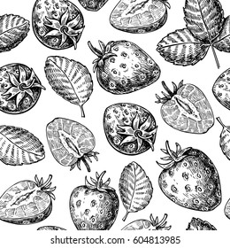 Strawberry vector seamless pattern drawing. Isolated hand drawn berry and leaf on white background.  Summer fruit engraved style illustration. Detailed vegetarian food.