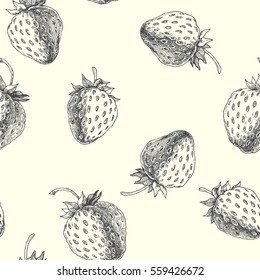 Strawberry. Vector seamless pattern. Floral hand drawn illustration