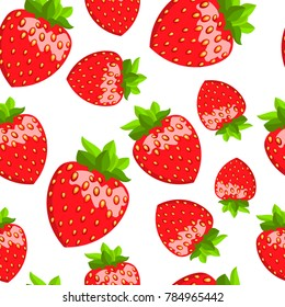 Strawberry. Vector seamless pattern. Floral illustration
