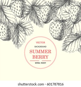 Strawberry. Vector vintage hand drawn illustration with summer engraved berries and leaves. Skech style