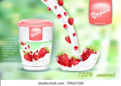 Strawberry yogurt ads, appetizing open yogurt with yogurt splash and berries  floating in the air, 3d vector illustration isolated on green background.