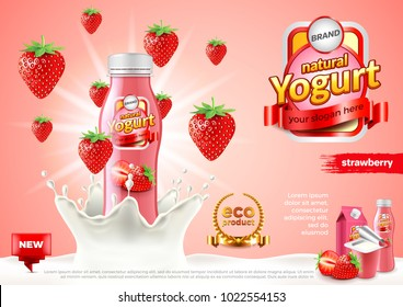 Strawberry yogurt ads. Bottle in milk splash. 3d illustration and packaging