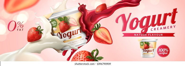 Strawberry yogurt ads with milk and fruit jam splashing in the air on pink background